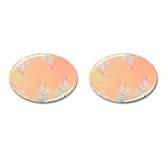Peach Spring Frost On Flowers Fractal Cufflinks (oval) by Artist4God