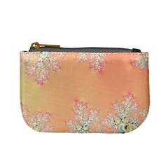 Peach Spring Frost On Flowers Fractal Coin Change Purse by Artist4God