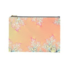 Peach Spring Frost On Flowers Fractal Cosmetic Bag (large)