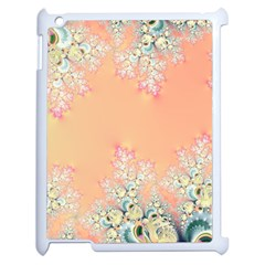 Peach Spring Frost On Flowers Fractal Apple Ipad 2 Case (white) by Artist4God