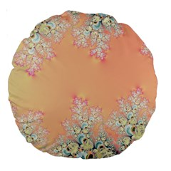 Peach Spring Frost On Flowers Fractal 18  Premium Round Cushion  by Artist4God