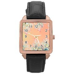 Peach Spring Frost On Flowers Fractal Rose Gold Leather Watch  by Artist4God