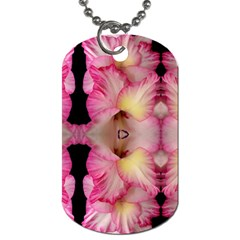 Pink Gladiolus Flowers Dog Tag (two Sided)  by Artist4God