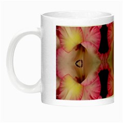 Pink Gladiolus Flowers Glow In The Dark Mug by Artist4God
