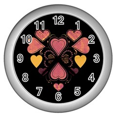 Love Collage Wall Clock (silver) by whitemagnolia