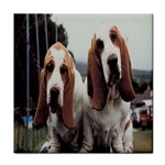 basset hounds two Tile Coaster