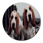 basset hounds two Round Mousepad