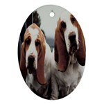 basset hounds two Ornament (Oval)