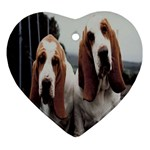 basset hounds two Ornament (Heart)