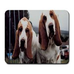 basset hounds two Large Mousepad