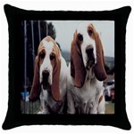 basset hounds two Throw Pillow Case (Black)