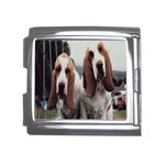 basset hounds two Mega Link Italian Charm (18mm)