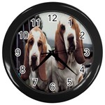 basset hounds two Wall Clock (Black)
