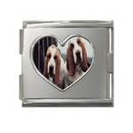 basset hounds two Mega Link Heart Italian Charm (18mm)