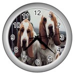 basset hounds two Wall Clock (Silver)