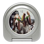 basset hounds two Travel Alarm Clock