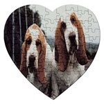 basset hounds two Jigsaw Puzzle (Heart)