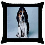 Basset hound puppy Throw Pillow Case (Black)