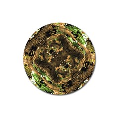 Artificial Tribal Jungle Print Magnet 3  (round) by dflcprints