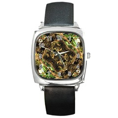 Artificial Tribal Jungle Print Square Leather Watch by dflcprints