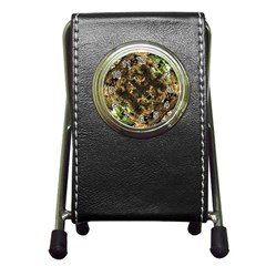 Artificial Tribal Jungle Print Stationery Holder Clock