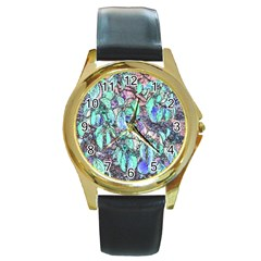 Colored Pencil Tree Leaves Drawing Round Leather Watch (gold Rim)  by LokisStuffnMore