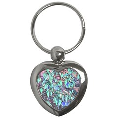 Colored Pencil Tree Leaves Drawing Key Chain (heart) by LokisStuffnMore