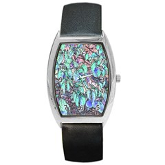 Colored Pencil Tree Leaves Drawing Tonneau Leather Watch by LokisStuffnMore