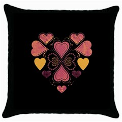 Love Collage Black Throw Pillow Case by whitemagnolia