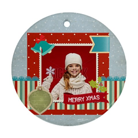Merry Christmas By Xmas   Ornament (round)   Rmfmvpxr4tss   Www Artscow Com Front