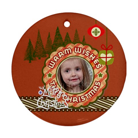 Merry Christmas By Xmas   Ornament (round)   0ce50rvnhvpo   Www Artscow Com Front