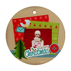 Merry Christmas By Xmas   Round Ornament (two Sides)   Jwmap8iryvqr   Www Artscow Com Front