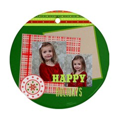 Merry Christmas By Xmas   Round Ornament (two Sides)   Lxwzxjstddq2   Www Artscow Com Back
