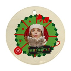 Merry Christmas By Xmas   Round Ornament (two Sides)   P1fzf5ksc43x   Www Artscow Com Front