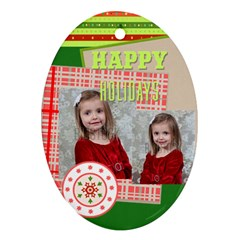 Merry Christmas By Xmas   Oval Ornament (two Sides)   D9ndjn3hvf0c   Www Artscow Com Front