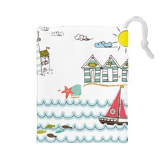 Summer Holiday Drawstring Pouch (large) by whitemagnolia