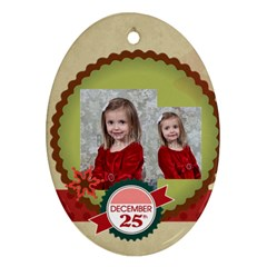 Merry Christmas By Xmas   Oval Ornament (two Sides)   Vxpxmsnhu3nw   Www Artscow Com Front