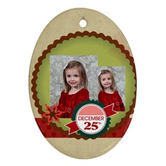 Merry Christmas By Xmas   Oval Ornament (two Sides)   Vxpxmsnhu3nw   Www Artscow Com Back