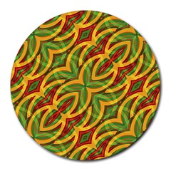 Tropical Colors Abstract Geometric Print 8  Mouse Pad (round) by dflcprints