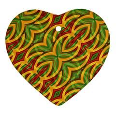 Tropical Colors Abstract Geometric Print Heart Ornament (two Sides) by dflcprints