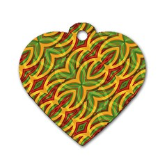 Tropical Colors Abstract Geometric Print Dog Tag Heart (one Sided)  by dflcprints