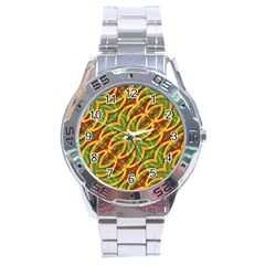 Tropical Colors Abstract Geometric Print Stainless Steel Watch by dflcprints