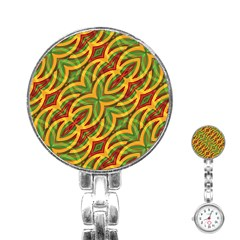 Tropical Colors Abstract Geometric Print Stainless Steel Nurses Watch by dflcprints
