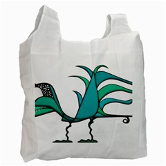 Fantasy Bird White Reusable Bag (Two Sides) by dflcprints