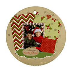 Merry Christmas By Merry Christmas   Round Ornament (two Sides)   7iap86zywosd   Www Artscow Com Front