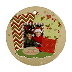 Merry Christmas By Merry Christmas   Round Ornament (two Sides)   7iap86zywosd   Www Artscow Com Back