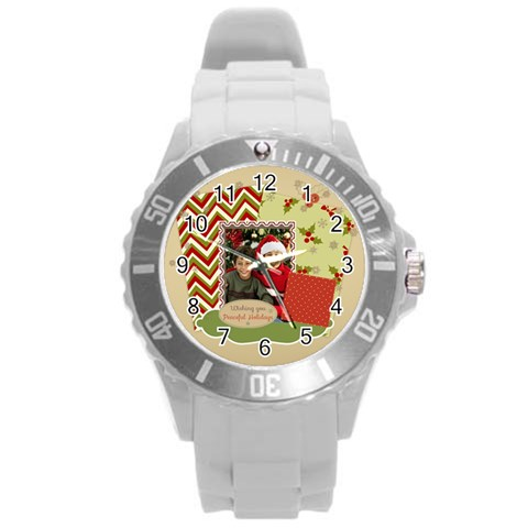 Xmas By Merry Christmas   Round Plastic Sport Watch (l)   Pea6vkl5d3tk   Www Artscow Com Front