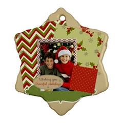 Merry Christmas By Merry Christmas   Snowflake Ornament (two Sides)   Ygwsrhjik4ze   Www Artscow Com Front