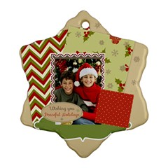 Merry Christmas By Merry Christmas   Snowflake Ornament (two Sides)   Ygwsrhjik4ze   Www Artscow Com Back