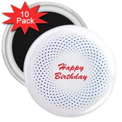 Halftone Circle With Squares 3  Button Magnet (10 Pack) by rizovdesign